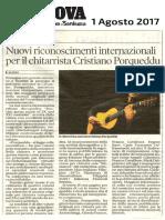 Cristiano Porqueddu - La Nuova Sardegna - 1 Agosto 2017
