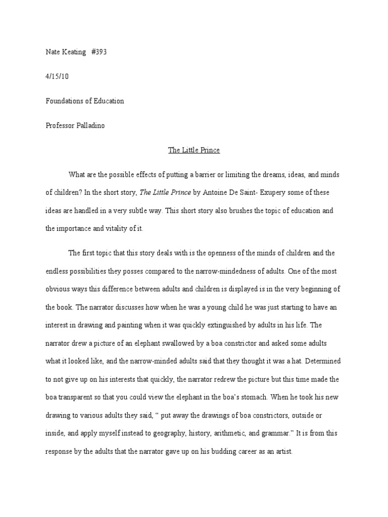 the little prince essay questions The prince study guide contains a biography of niccolo machiavelli, literature essays, a complete e-text, quiz questions, major themes, characters, and a.