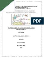 Planificación de Capacidad de Plantas Metalurgicas