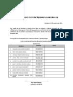 Certificado de Vacaciones Laborales