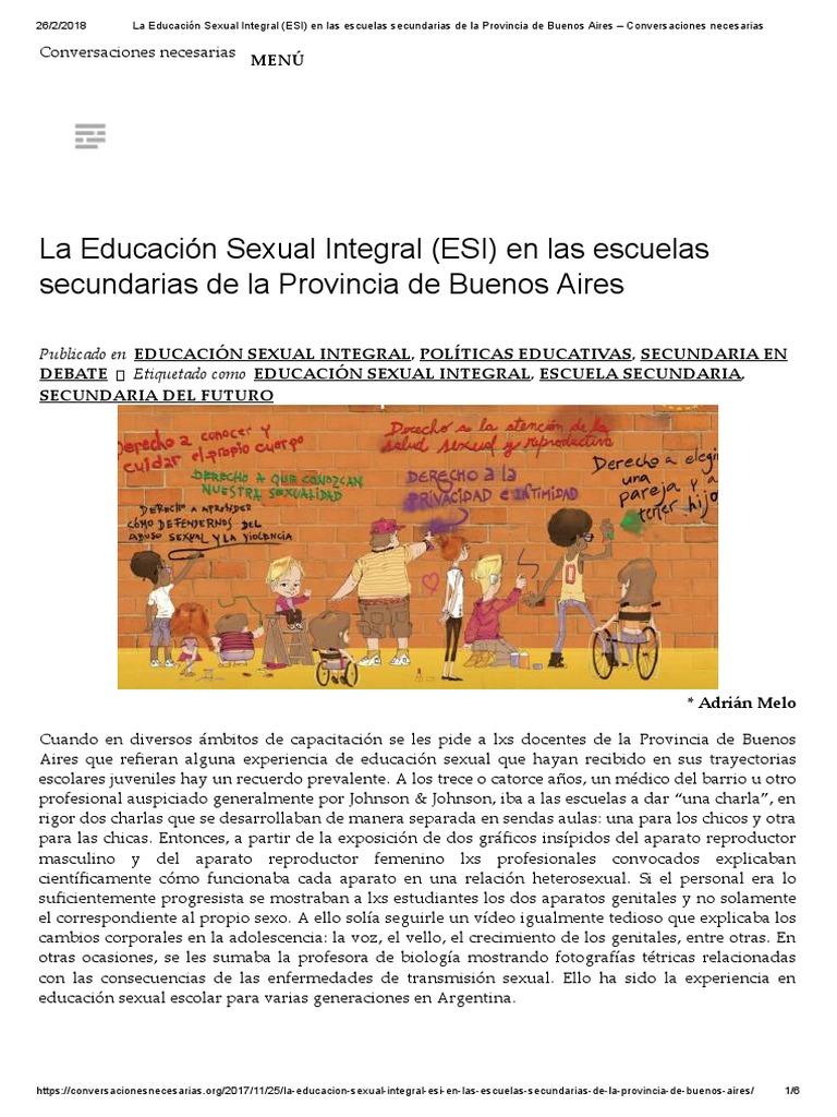 La Educación Sexual Integral (ESI) en Las Escuelas Secundarias de La ...