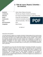 Ficha Tecnica Proyecto Diseño y Construcción Ermita Villa de Leyva Colombia