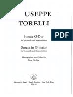 TORELLI Giuseppe (1658-1709) Cello Sonata in Sol M (1701-08)