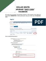 Bukti Pembayaran Dollar Gratis dari Aplikasi Easy Cash Facebook