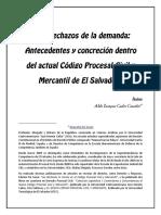 Los Rechazos de La Demanda Antecedentes y Concrecion Dentro Del Actual Codigo Procesal Civil y Mercantil ES