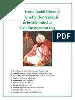 374th Gurta Gaddi Diwas of Sri Guru Har Rai Sahib Ji to Be Celebrated as Sikh Environment Day
