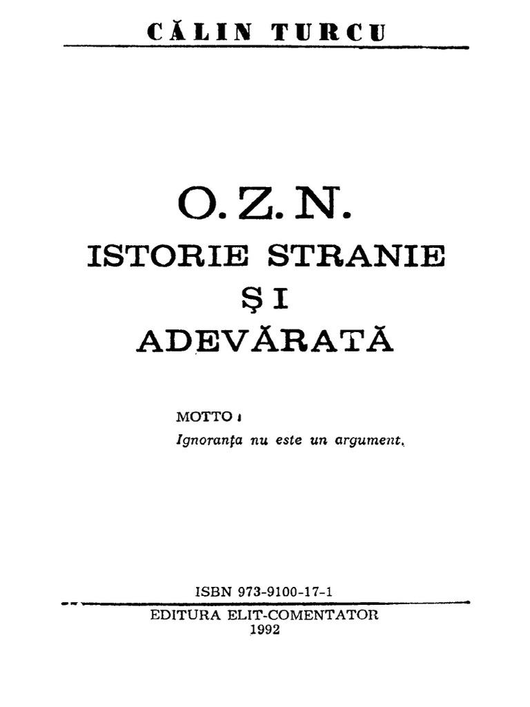 calin n turcu ozn istorie stranie si adevarata pdf