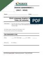 CA 1 - Descriptive Writing Sample