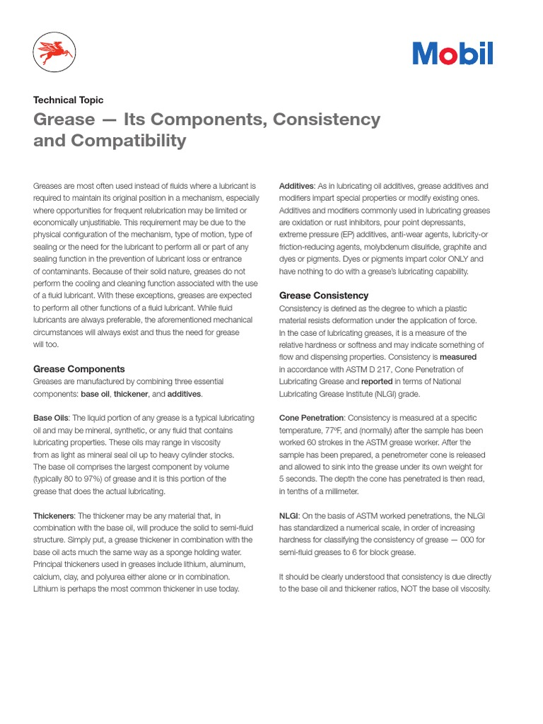 Tt Components Consistency and Compatibiliy of Grease (1