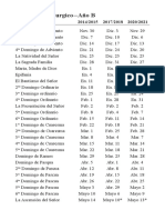 Spanish Liturgical CalendarB 2014-2021