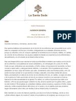 PAPA FRANCISCO - CATEQUESIS SOBRE LA UNCIÓN DE LOS ENFERMOS