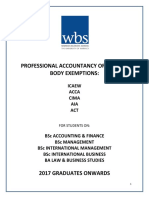 Professional Accountancy Body Exemptions - Advice and 2016-17 Proposed