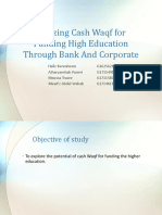 Utilizing Cash Waqf for Funding High Education Through Bank and Corporate
