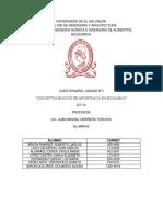 cuestionario sobre lo conceptos básicos de la bioquímica