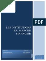 Les Institutions Du Marché FINANCIER