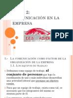 Tema 2 La Organización y Comunicación en Le Empresa