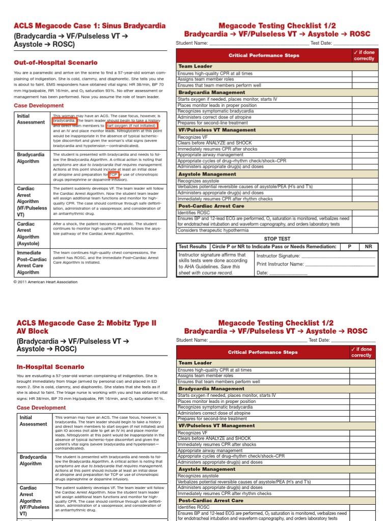 AHA ACLS Megacode Scenarios Copy Cardiopulmonary