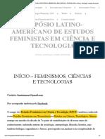 SIMPÓSIO LATINO-AMERICANO DE ESTUDOS FEMINISTAS EM CIÊNCIA E TECNOLOGIA _ ciência, tecnologia, estudos feministas