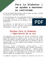Hierbas Para La Diabetes