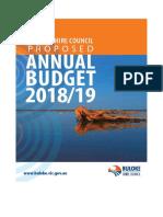 Buloke Shire Counicl Proposed Budget 2018-19