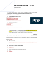 Cuestionario de Expresion Oral y Escrita