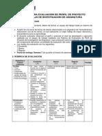 Rúbrica Para Evaluación de Perfil de Proyecto