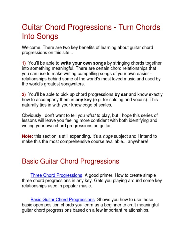 Guitar Chord Progressions Scale Music Chord Music