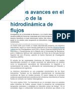 Nuevos Avances en El Estudio de La Hidrodinámica de Flujos