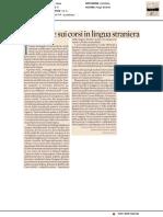 Bollino UE sui corsi in lingua straniera - Il Sole24ore del 14 maggio 2018