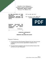Judicial Affidavit of Marina Salazar de Leon