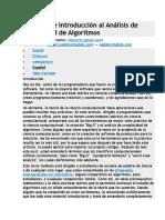 Una Amable Introducción Al Análisis de Complejidad de Algoritmos