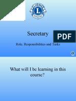 Club Secretary Course