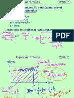 Mechanics 1 Equations of Motion 220910