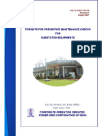 Formats for Preventive Maintenence Checks for Substation Equipments