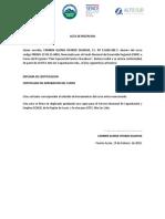 Acta de Recepcion Diploma y Certificado 0001 y 0002