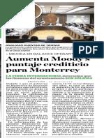 11-05-18 Aumenta Moody's  puntaje crediticio  para Monterrey