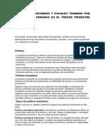 Politicas Monetarias y Fiscales Tomadas Por El Gobierno Peruano en El Tercer Trimestre Del Año 2017