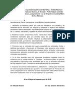 Declaración de los expresidentes Álvaro Uribe Vélez y Andrés Pastrana Arango, la Dra. Marta Lucía Ramírez, la Senadora Paola Holguín y demás congresistas colombianos, conjuntamente con la dirigente venezolana María Corina Machado