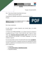 Carta de Invitacion a Los Congresistas Del Departamento de Ucayali