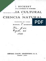 Rickert, H. - Ciencia Cultural y Ciencia Natural