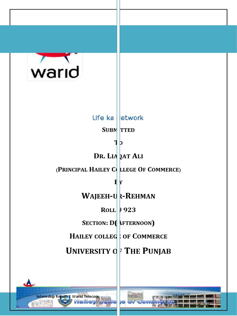 internship report on warid telecom 2010 Mkt619-final project-marketing-unilever pakistan internship report warid telecom mkt619-final project-marketing-unilever pakistan.