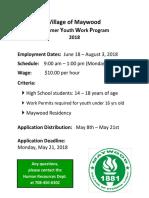 2018 Summer Youth Work Program