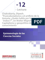 Chakrabarty Postcolonialismo