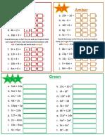 Algebra 1.6 Factorising Linear Differentiated Worksheet