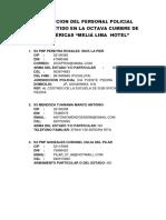 Informacion Del Personal Policial Comprometido en La Octava Cumbbre de Las Américas