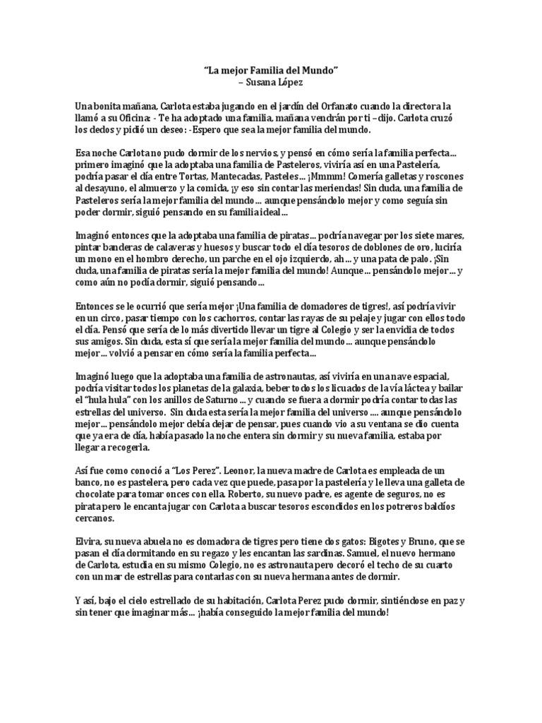 Cuento La Mejor Familia Del Mundo Susana López Naturaleza Naturaleza