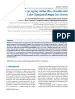 Mass transfer and color changes of arepa con huevo