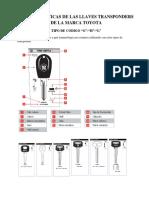 Caracteristicas de Las Llaves Transponders de La Marca Toyota