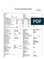 Control Valve Specification Sheet