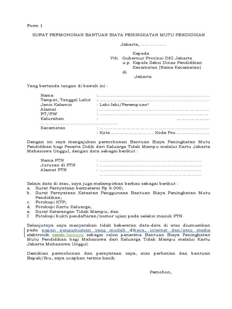 Surat Permohonan Bantuan Biaya Peningkatan Mutu Pendidikan Kjmu Doc